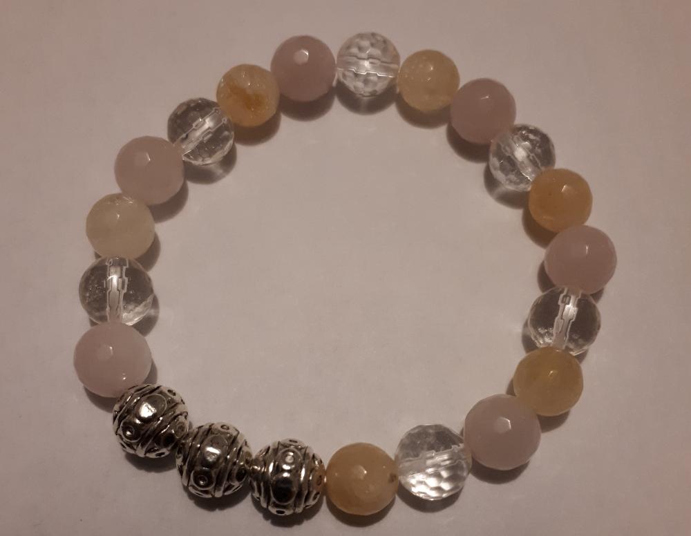 Bracelet Citrine, cristal de roche, quartz rose